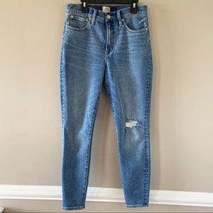 """J. Crew 10"""" Toothpick Distressed High Rise Jeans"""